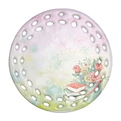 Romantic Watercolor Books And Flowers Ornament (round Filigree)