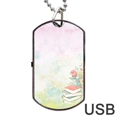 Romantic Watercolor Books And Flowers Dog Tag Usb Flash (two Sides)
