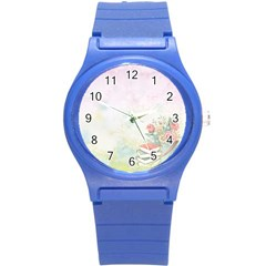 Romantic Watercolor Books And Flowers Round Plastic Sport Watch (s)