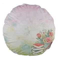 Romantic Watercolor Books And Flowers Large 18  Premium Round Cushions