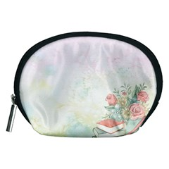 Romantic Watercolor Books And Flowers Accessory Pouches (medium)