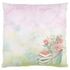 Romantic Watercolor Books And Flowers Large Flano Cushion Case (two Sides)