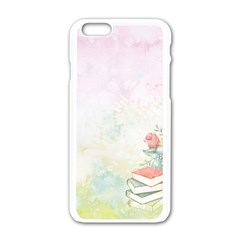 Romantic Watercolor Books And Flowers Apple Iphone 6/6s White Enamel Case