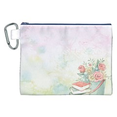 Romantic Watercolor Books And Flowers Canvas Cosmetic Bag (xxl)