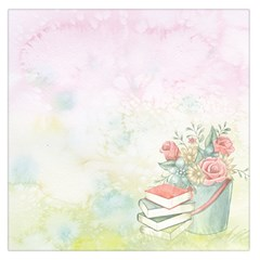 Romantic Watercolor Books And Flowers Large Satin Scarf (square)
