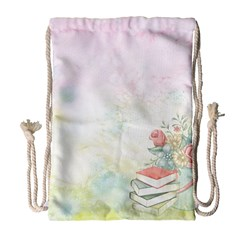 Romantic Watercolor Books And Flowers Drawstring Bag (large)