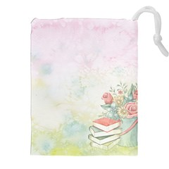 Romantic Watercolor Books And Flowers Drawstring Pouches (xxl)