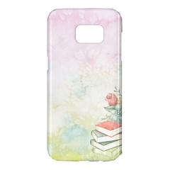 Romantic Watercolor Books And Flowers Samsung Galaxy S7 Edge Hardshell Case