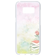 Romantic Watercolor Books And Flowers Samsung Galaxy S8 White Seamless Case