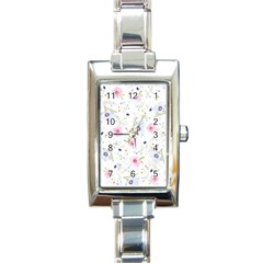 Floral Cute Girly Pattern Rectangle Italian Charm Watch