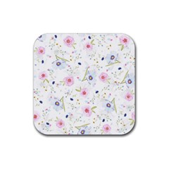 Floral Cute Girly Pattern Rubber Square Coaster (4 Pack)