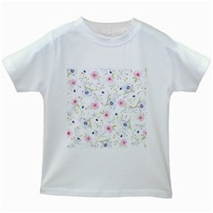 Floral Cute Girly Pattern Kids White T Shirts