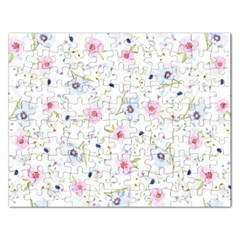 Floral Cute Girly Pattern Rectangular Jigsaw Puzzl