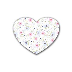 Floral Cute Girly Pattern Heart Coaster (4 Pack)