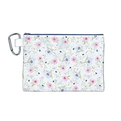 Floral Cute Girly Pattern Canvas Cosmetic Bag (m)