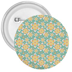 Seamless Pattern Blue Floral 3  Buttons