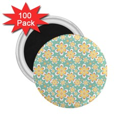 Seamless Pattern Blue Floral 2 25  Magnets (100 Pack)