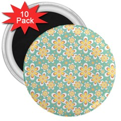Seamless Pattern Blue Floral 3  Magnets (10 Pack)