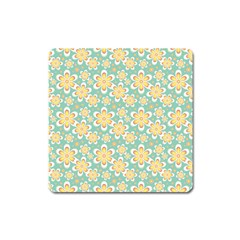Seamless Pattern Blue Floral Square Magnet