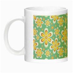 Seamless Pattern Blue Floral Night Luminous Mugs