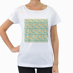 Seamless Pattern Blue Floral Women s Loose Fit T Shirt (white)