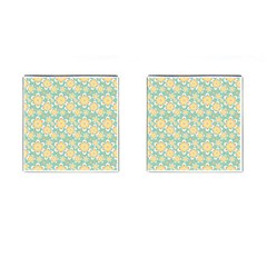Seamless Pattern Blue Floral Cufflinks (square)