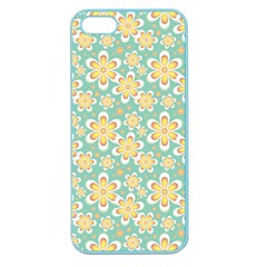 Seamless Pattern Blue Floral Apple Seamless Iphone 5 Case (color)