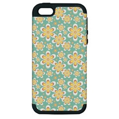 Seamless Pattern Blue Floral Apple Iphone 5 Hardshell Case (pc+silicone)