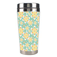 Seamless Pattern Blue Floral Stainless Steel Travel Tumblers
