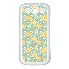 Seamless Pattern Blue Floral Samsung Galaxy S3 Back Case (white)