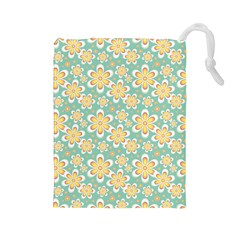 Seamless Pattern Blue Floral Drawstring Pouches (large)