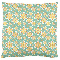 Seamless Pattern Blue Floral Large Flano Cushion Case (two Sides)