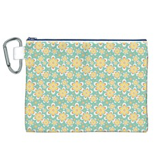 Seamless Pattern Blue Floral Canvas Cosmetic Bag (xl)