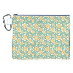 Seamless Pattern Blue Floral Canvas Cosmetic Bag (xxl)