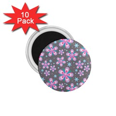 Seamless Pattern Purple Girly Floral Pattern 1 75  Magnets (10 Pack)