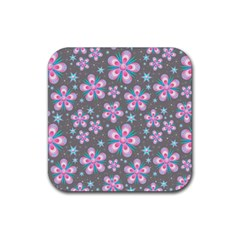 Seamless Pattern Purple Girly Floral Pattern Rubber Coaster (square)