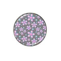 Seamless Pattern Purple Girly Floral Pattern Hat Clip Ball Marker (4 Pack)