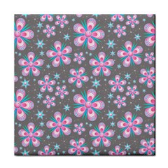 Seamless Pattern Purple Girly Floral Pattern Face Towel