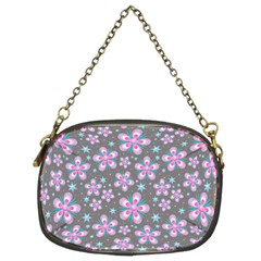 Seamless Pattern Purple Girly Floral Pattern Chain Purses (two Sides)