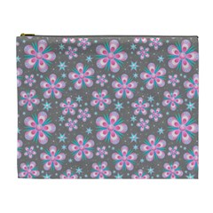 Seamless Pattern Purple Girly Floral Pattern Cosmetic Bag (xl)