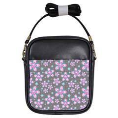 Seamless Pattern Purple Girly Floral Pattern Girls Sling Bags