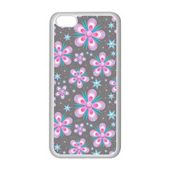 Seamless Pattern Purple Girly Floral Pattern Apple Iphone 5c Seamless Case (white)