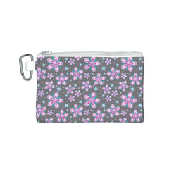 Seamless Pattern Purple Girly Floral Pattern Canvas Cosmetic Bag (s)