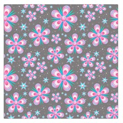Seamless Pattern Purple Girly Floral Pattern Large Satin Scarf (square)