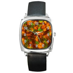 Squiggly Abstract F Square Metal Watch