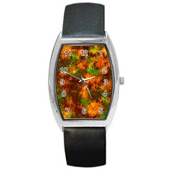 Squiggly Abstract F Barrel Style Metal Watch