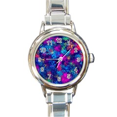 Squiggly Abstract E Round Italian Charm Watch