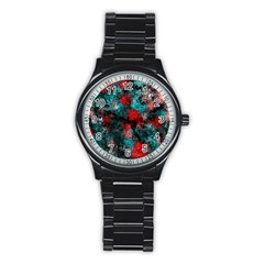 Squiggly Abstract D Stainless Steel Round Watch