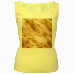 Wonderful Marbled Structure E Women s Yellow Tank Top