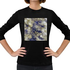 Wonderful Marbled Structure D Women s Long Sleeve Dark T Shirts